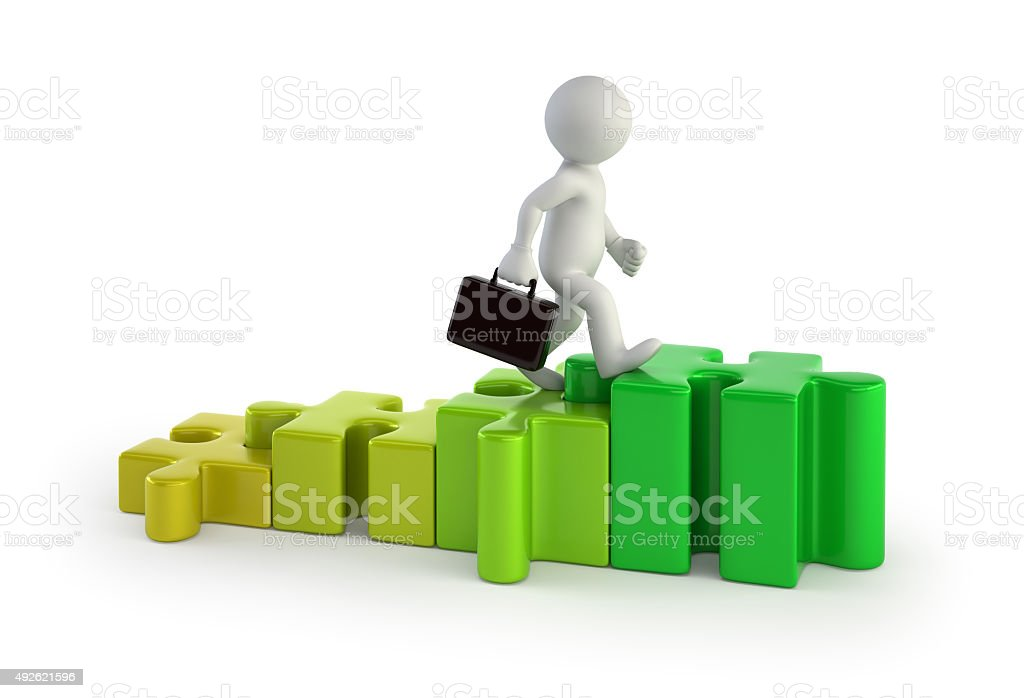 3d small people - stairs puzzles stock photo