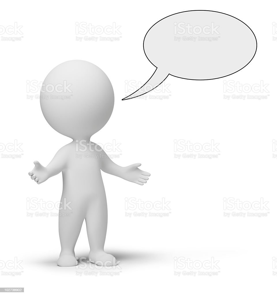 3d small people - talk royalty-free stock photo