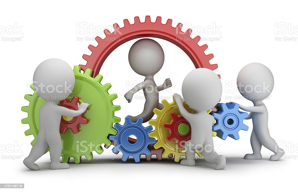 3d small people - team mechanism stock photo