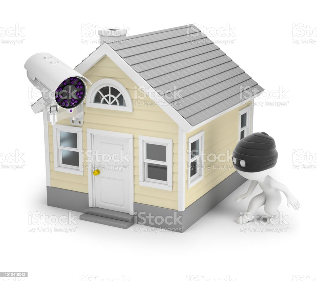 3d small people - thief and house стоковое фото