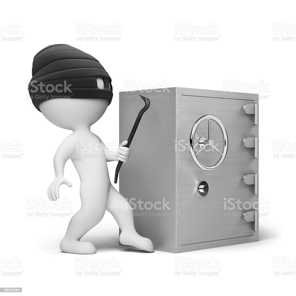 3d small people - thief royalty-free stock photo