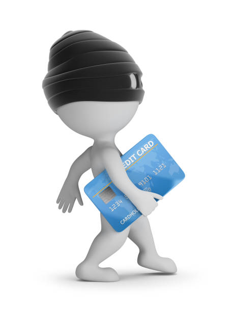 3d small people - thief with a credit card stock photo