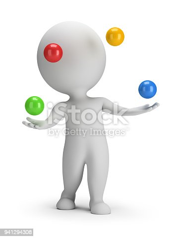 istock 3d small people - throws balls 941294308
