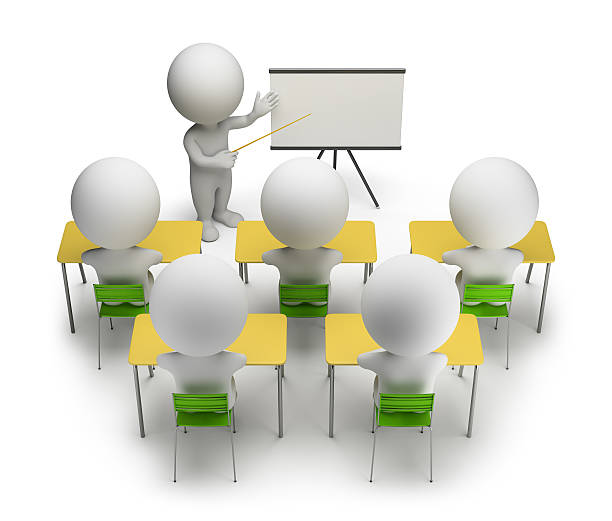 3d small people - training courses stock photo