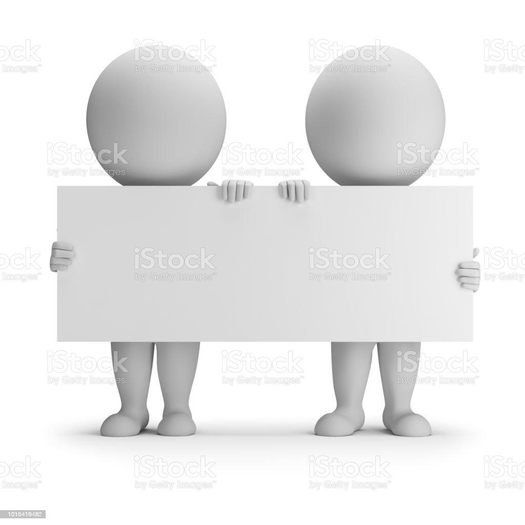 3d small people - two keep an empty board стоковое фото