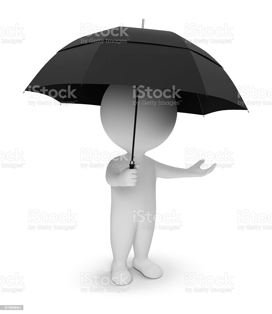 3d small people - umbrella royalty-free stock photo