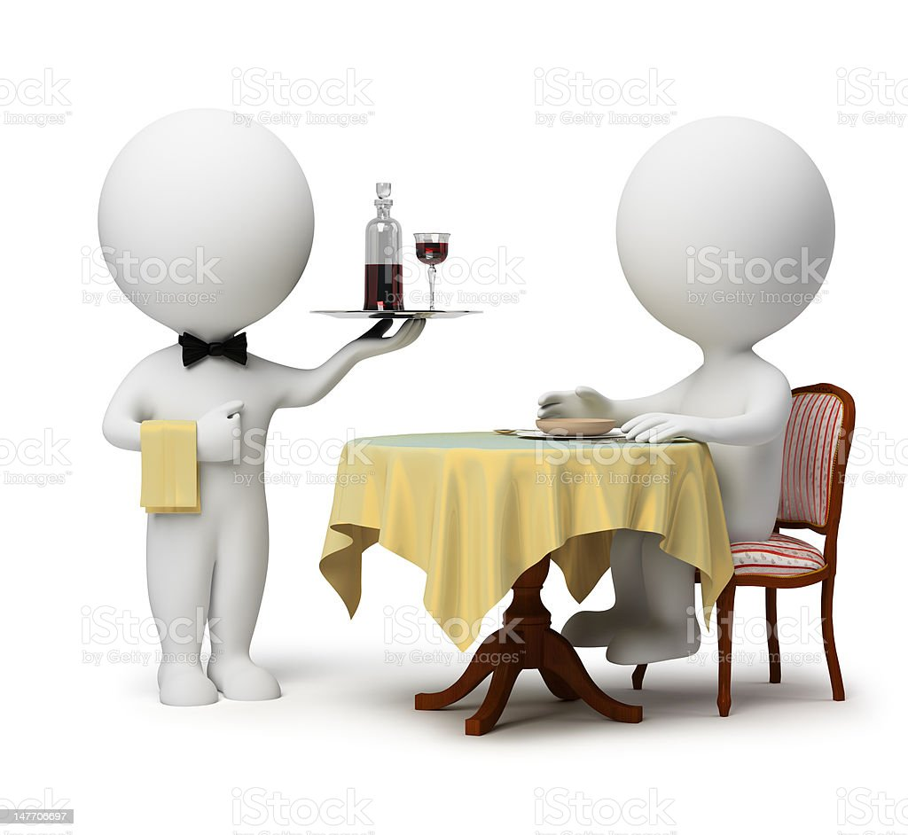 3d small people - waiter and client royalty-free stock photo