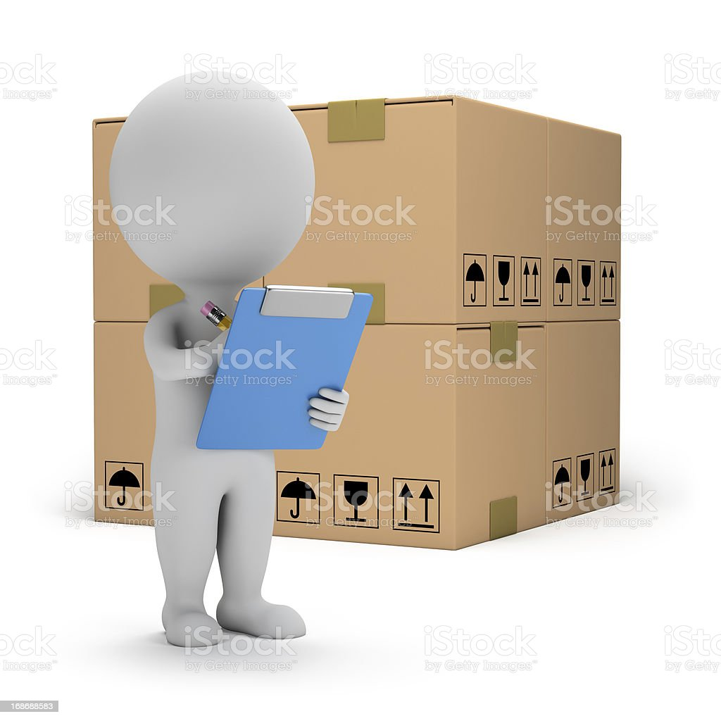 3d small people - warehouse services stock photo
