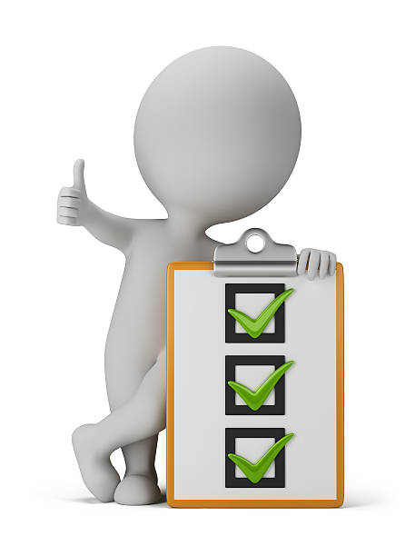 3d small people with a checklist stock photo