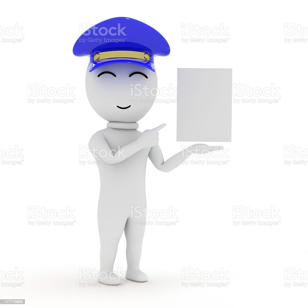 3d small people with an empty signboard royalty-free stock photo