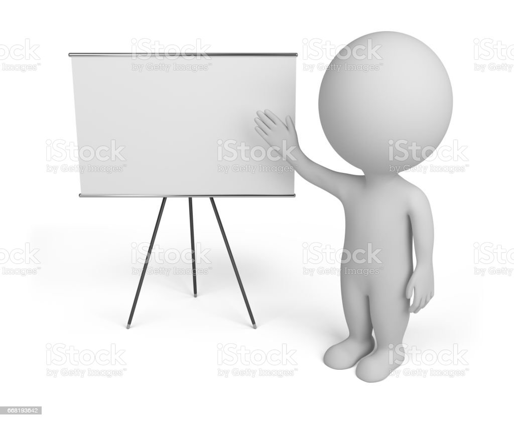 3d small people with empty board stock photo