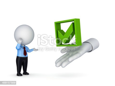 istock 3d small person looking for a tick mark. 459157559