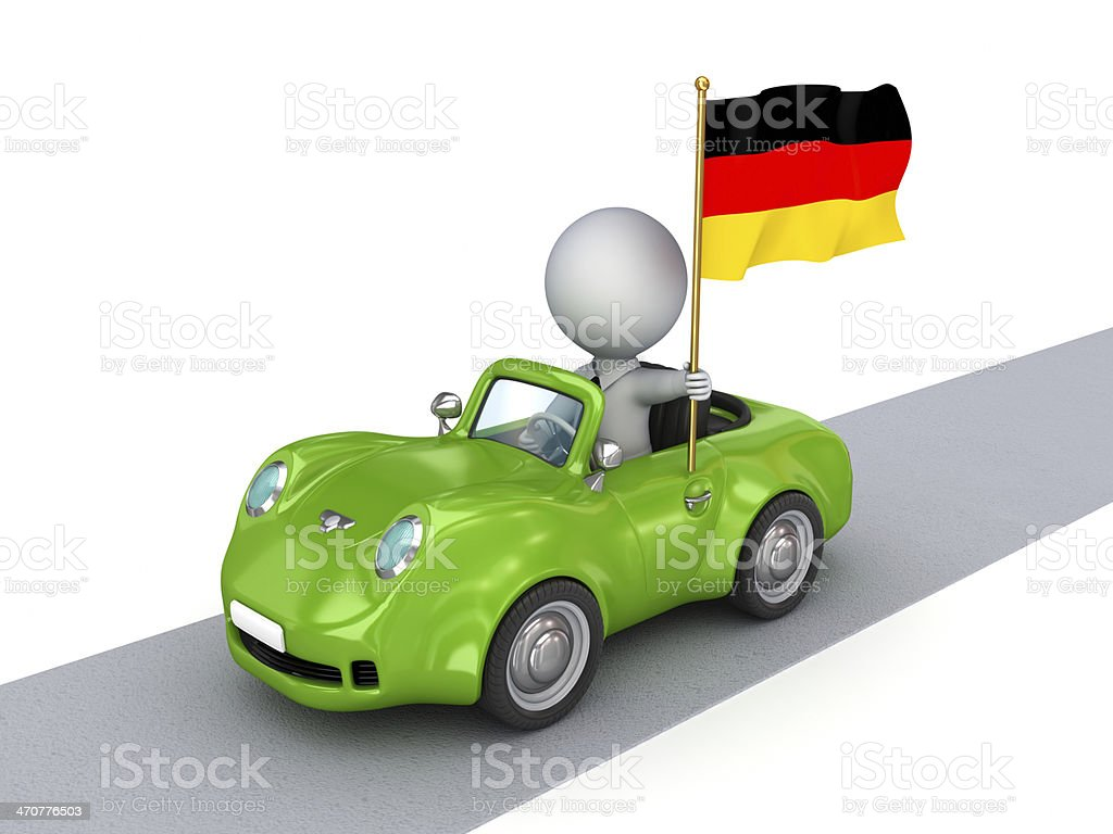 3d small person on green car with German flag. royalty-free stock photo