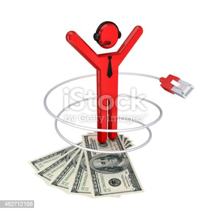 3d small person, patchcord and dollars. Isolated on white background.