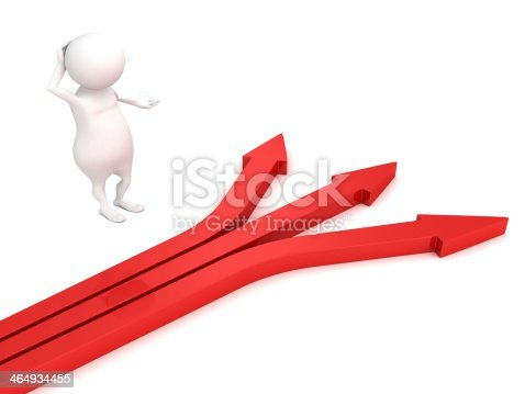 istock 3d small person red arrows different ways hard choice concept 464934455