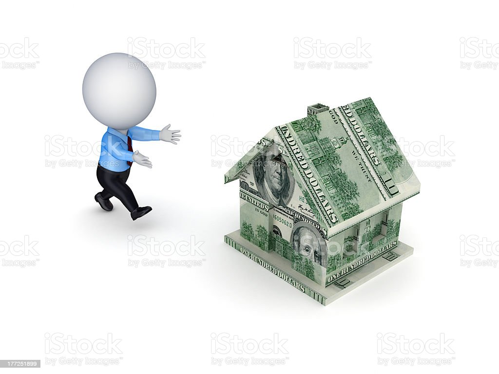 3d small person running to a dollar house. royalty-free stock photo