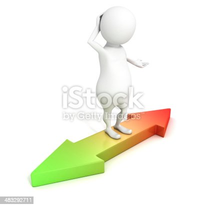 istock 3d small person standing on green red arrows choice directions 483292711
