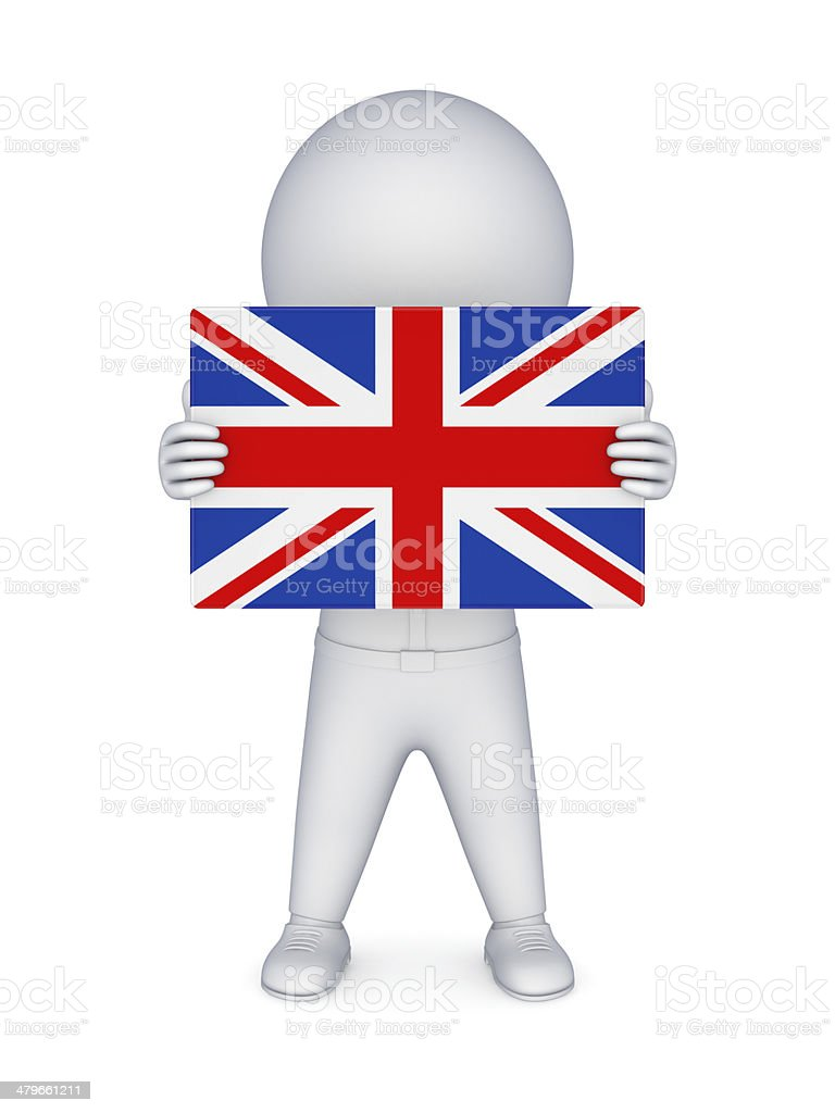 3d small person with british flag. royalty-free stock photo