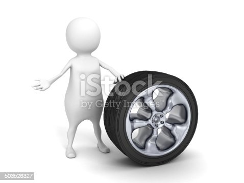 istock 3d small person with car tire wheel 503526327