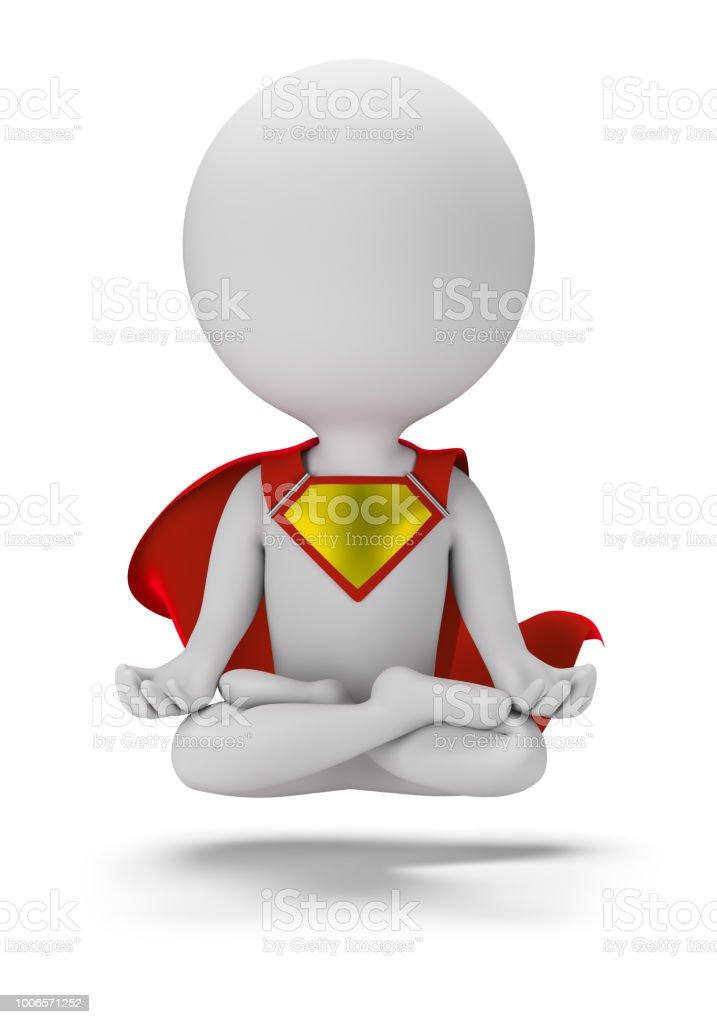 3d small superhero - levitation стоковое фото