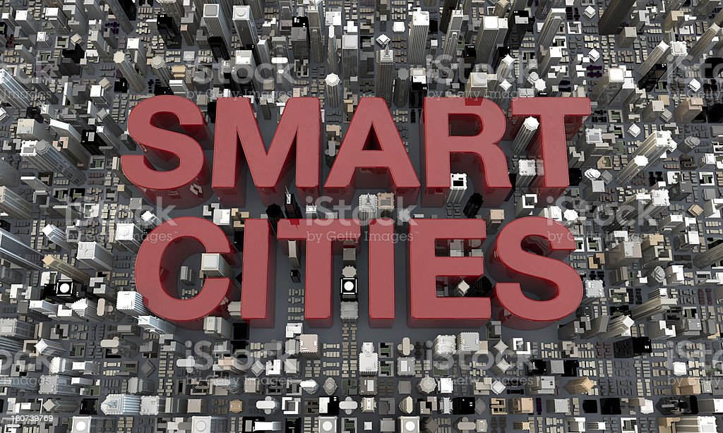 3d Smart Cities buildings with text stock photo