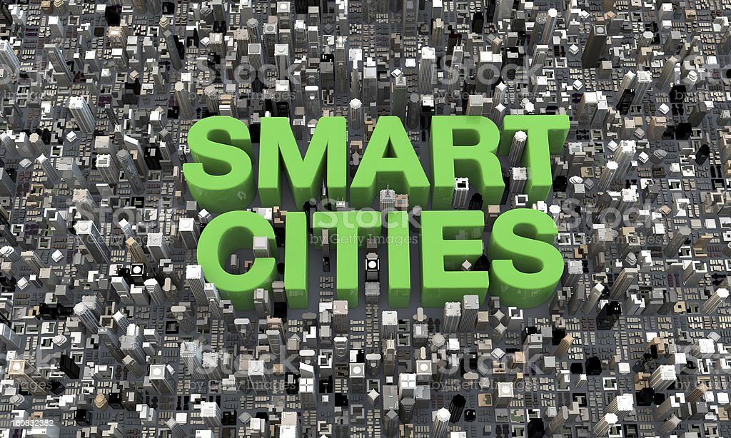 3d Smart Cities top view buildings with green text stock photo