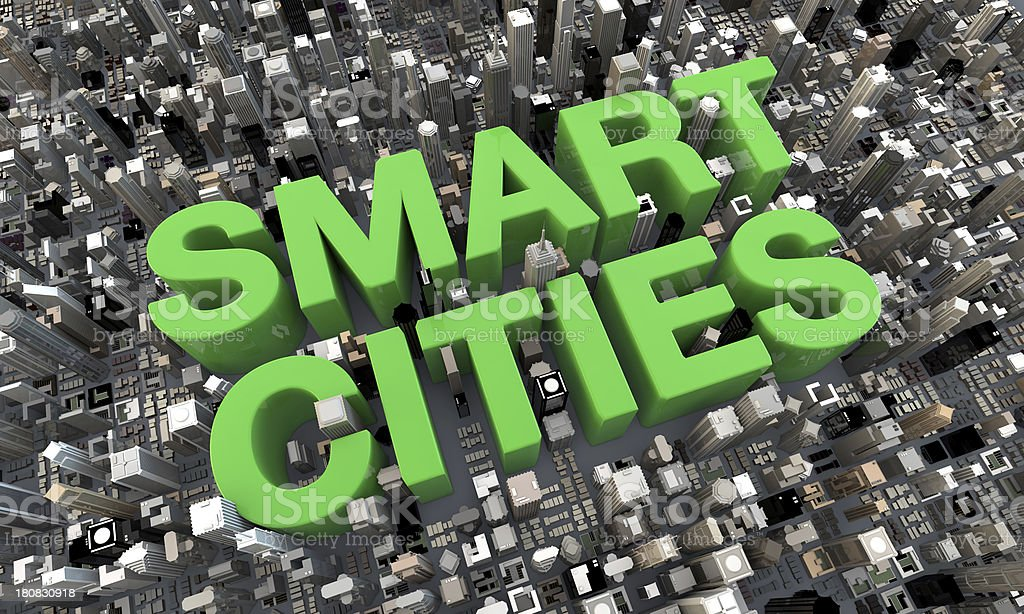 3d Smart Cities top view buildings with green text Skyscrapers stock photo