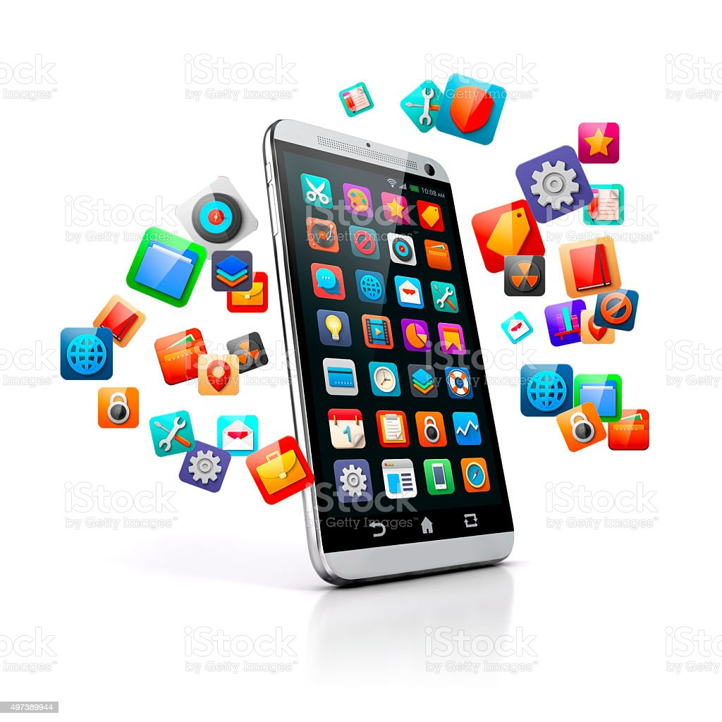 3d smart phone on white background stock photo