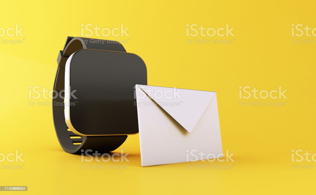 3d illustration. smart watch with unread message icon on yellow...