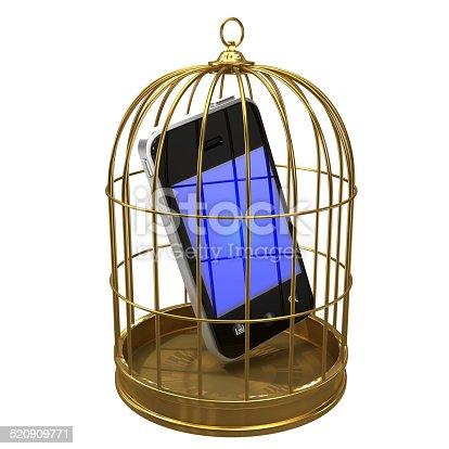 istock 3d Smartphone in a birdcage 520909771