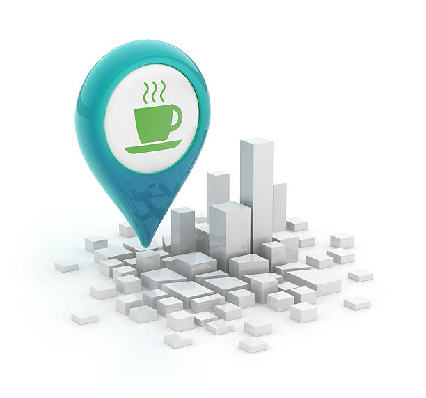 3d smartphone - Map pointer with coffe cup stock photo