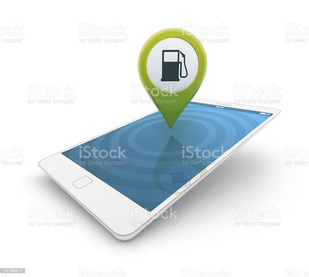 3d smartphone - Map pointer with gas station icon stock photo