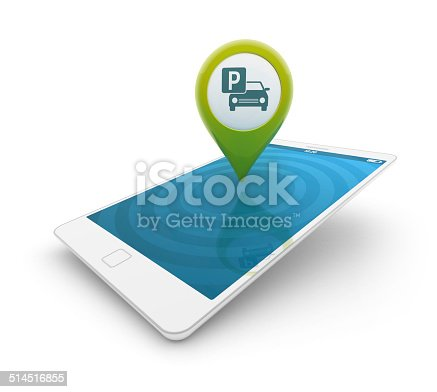istock 3d smartphone - Map pointer with parking icon 514516855