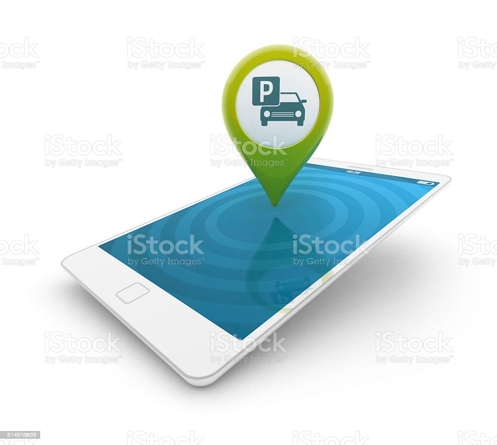 3d smartphone - Map pointer with parking icon stock photo