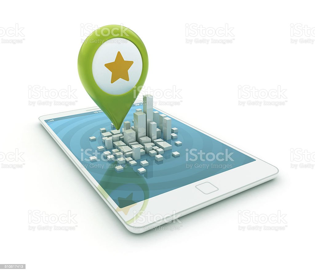 3d smartphone - Map pointer with star icon stock photo