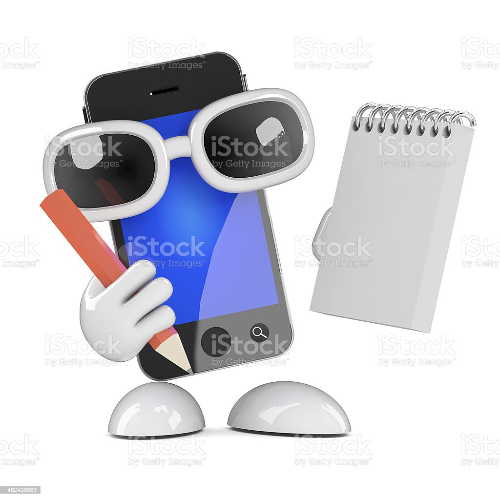 3d Smartphone takes notes royalty-free stock photo