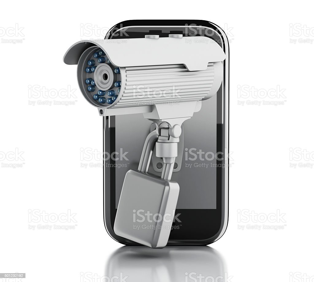 3d Smartphone with CCTV camera. Mobile security concept. stock photo