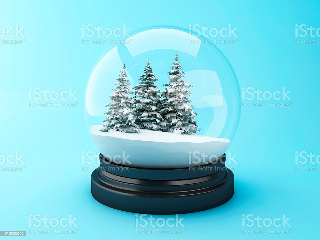 3d Snow dome with pine trees. stock photo