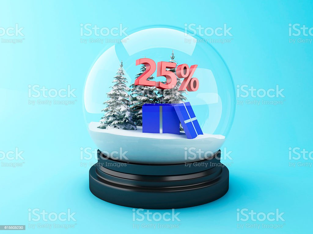 3d Snow dome with trees and red 25% discount. stock photo