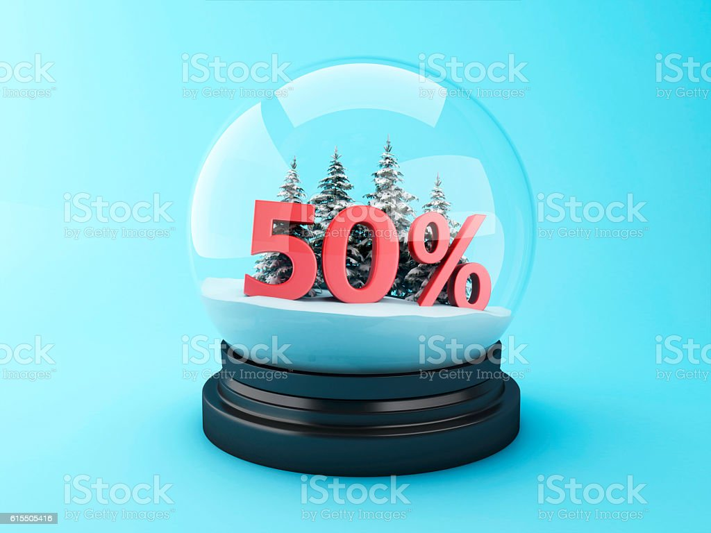 3d Snow dome with trees and red 50% discount. - foto de acervo