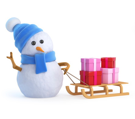 3d render of a snowman in a blue scarf and hat with a sled full of Christmas gifts