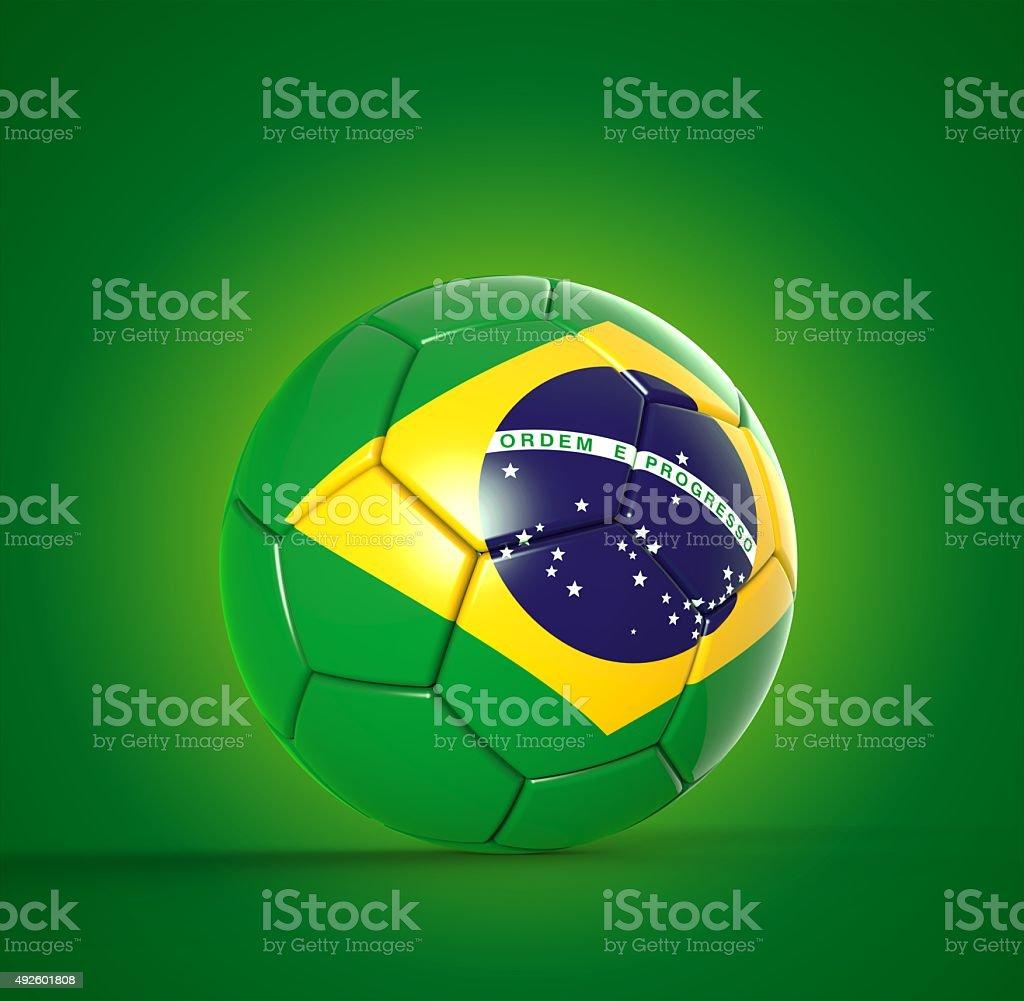 3 d bola de futebol com bandeira do Brasil - foto de acervo
