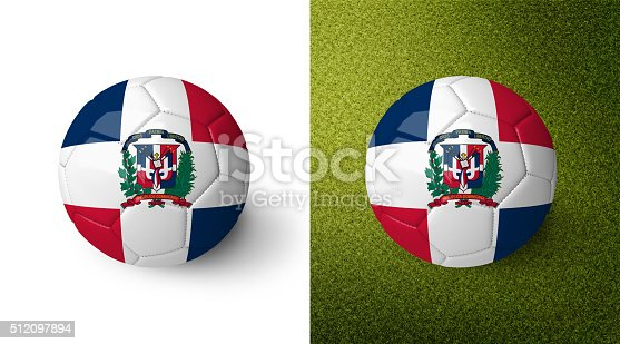 992854608 istock photo 3d soccer ball with the flag of the Dominican Republic. 512097894