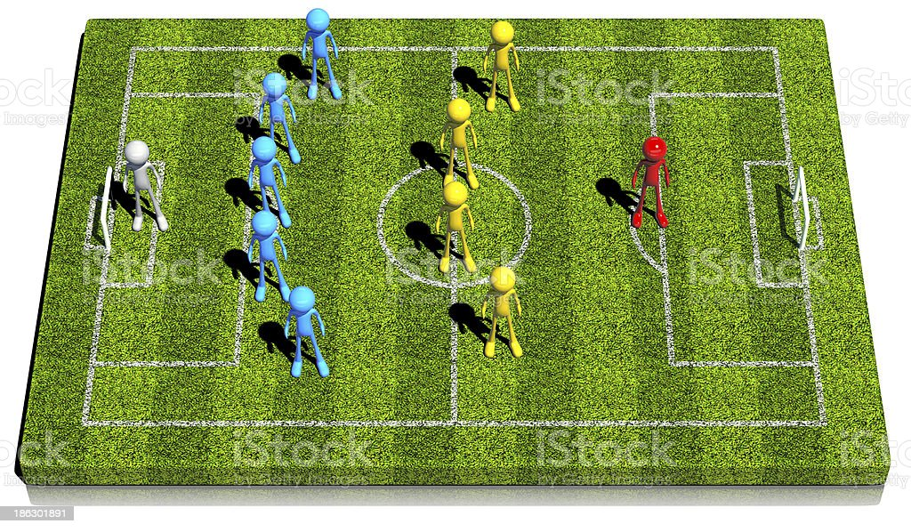 3d soccer formation five_ four_ one, Flat stock photo