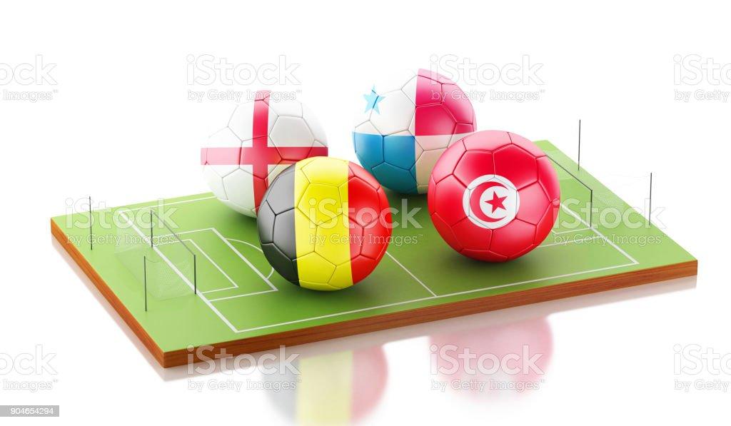 Torneio Mundial de futebol 3D Grupo G - foto de acervo