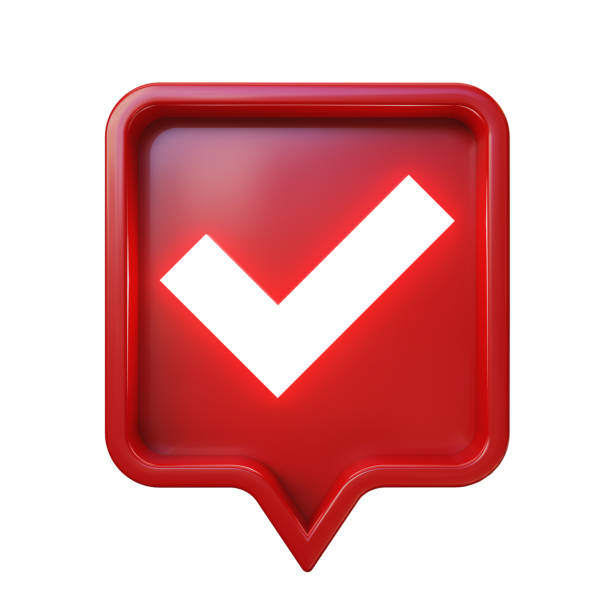 3d social media notification. Approval check mark in red square pin. Isolated, clipping path included. 3d social media notification. Approval check mark in red square pin, isolated on white background, clipping path included. 3d illustration. approbation stock pictures, royalty-free photos & images