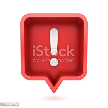istock 3d social media notification Exclamation mark icon in red rounded square pin isolated on white background with shadow 3D rendering 1149300769