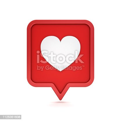 3d social media notification like heart icon on red rounded square pin isolated on white background with shadow 3D rendering