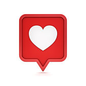 istock 3d social media notification like heart icon on red rounded square pin isolated on white background with shadow 3D rendering 1125351838