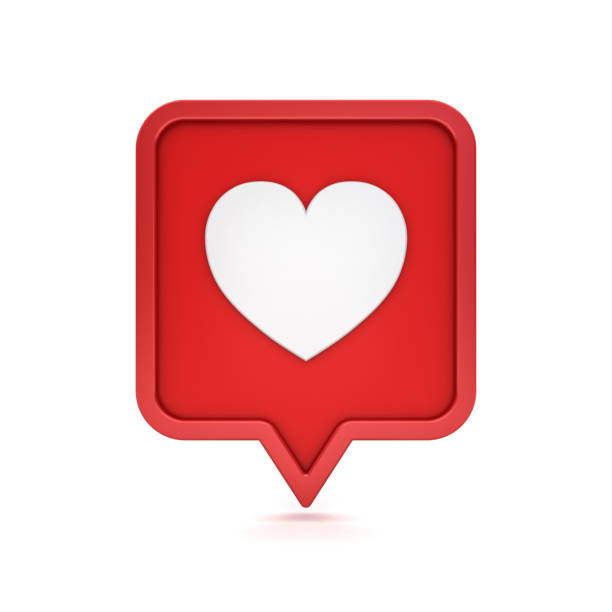 3d social media notification like heart icon on red rounded square pin isolated on white background with shadow 3D rendering stock photo
